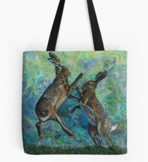 Boxing Hares Embroidery - Textile Art Tote Bag