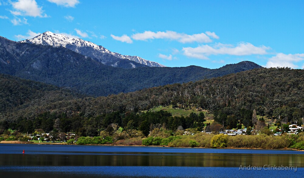 Mount Beauty Lake looking towards Mount Bogong by Andrew Clinkaberry
