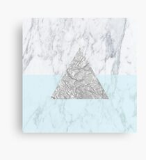 Marble Triangle Blue Canvas Print