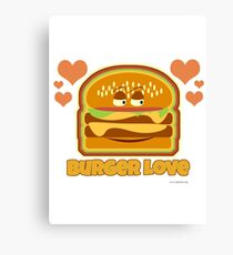 Cute Burger Love Cartoon Canvas Print