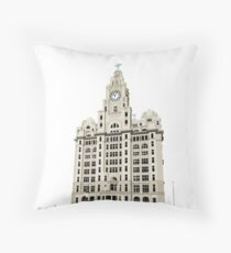 Royal Liver Building - inked on white Throw Pillow