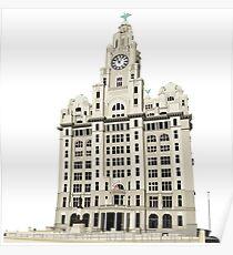 Royal Liver Building - inked on white Poster