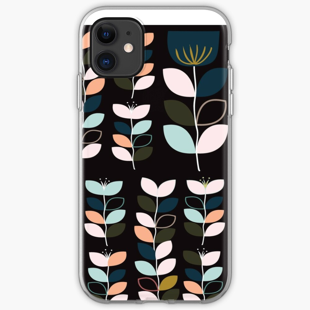 Leaf and Tulip on black  iPhone Soft Case