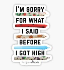 I'm Sorry For What I Said Before I Got High Sticker