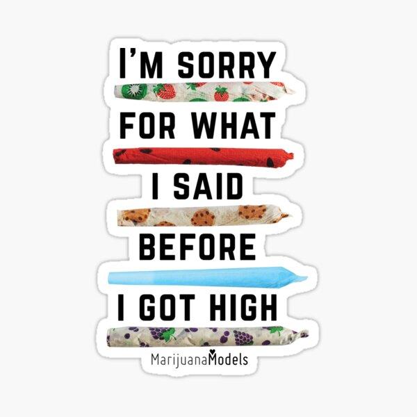 I'm Sorry For What I Said Before I Got High Glossy Sticker