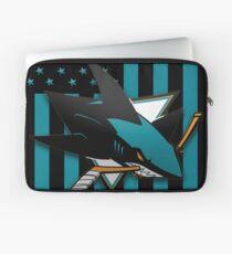 San Jose Sharks American Flag Laptop Sleeve