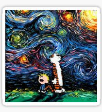 Calvin and Hobbes-Starry Night Sticker