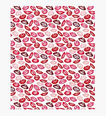 Pink Pop Art Lips Print Photographic Print