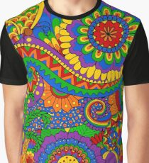 Happy Hippy Psychedelic Rainbow Design Graphic T-Shirt