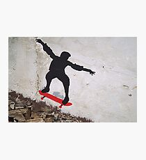 Stenciled Skateboarder Photographic Print