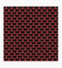 SCALES3 BLACK MARBLE & RED DENIM (R) Photographic Print