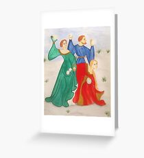 Medieval Winter Revelry Greeting Card