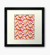 Watercolor Pink & Orange Autumn Fall Leaves Floral Print Framed Print