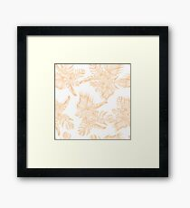 Tropical Monstera Deliciosa and Palm Leaf Coral on White Pattern Framed Print