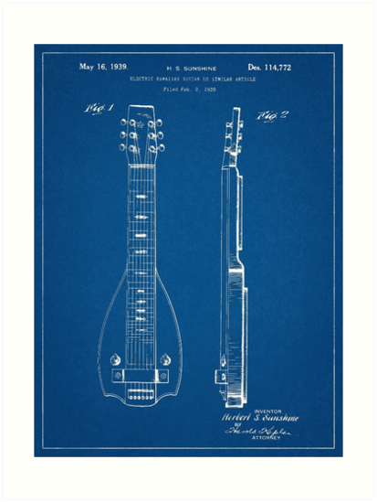 1939 Lap Steel Guitar Patent Art Blueprint\