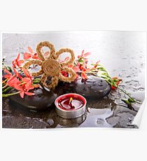 Soothe - Flower Candle And Stones Poster