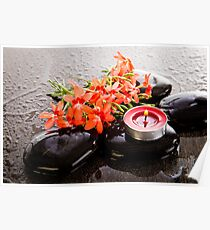 Fresh Calm In Orange Freesias And Red Candles Poster