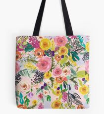 Pale Pink Autumn Floral Print with Colorful Blooms Tote Bag