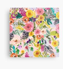 Pale Pink Autumn Floral Print with Colorful Blooms Metal Print