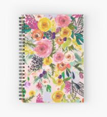 Pale Pink Autumn Floral Print with Colorful Blooms Spiral Notebook