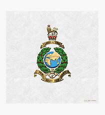 Royal Marines - RM Badge over White Leather Photographic Print