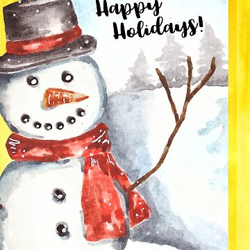 Watercolor Snowman Christmas Card by erika-lancaster