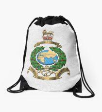 Royal Marines - RM Badge over White Leather Drawstring Bag