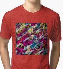 psychedelic rotten sketching texture abstract background in pink blue yellow Tri-blend T-Shirt