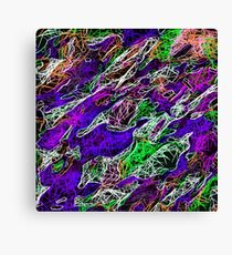 psychedelic rotten sketching texture abstract background in purple blue green Canvas Print