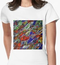 psychedelic rotten sketching texture abstract background in red blue green Women's Fitted T-Shirt