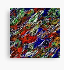 psychedelic rotten sketching texture abstract background in red blue green Canvas Print