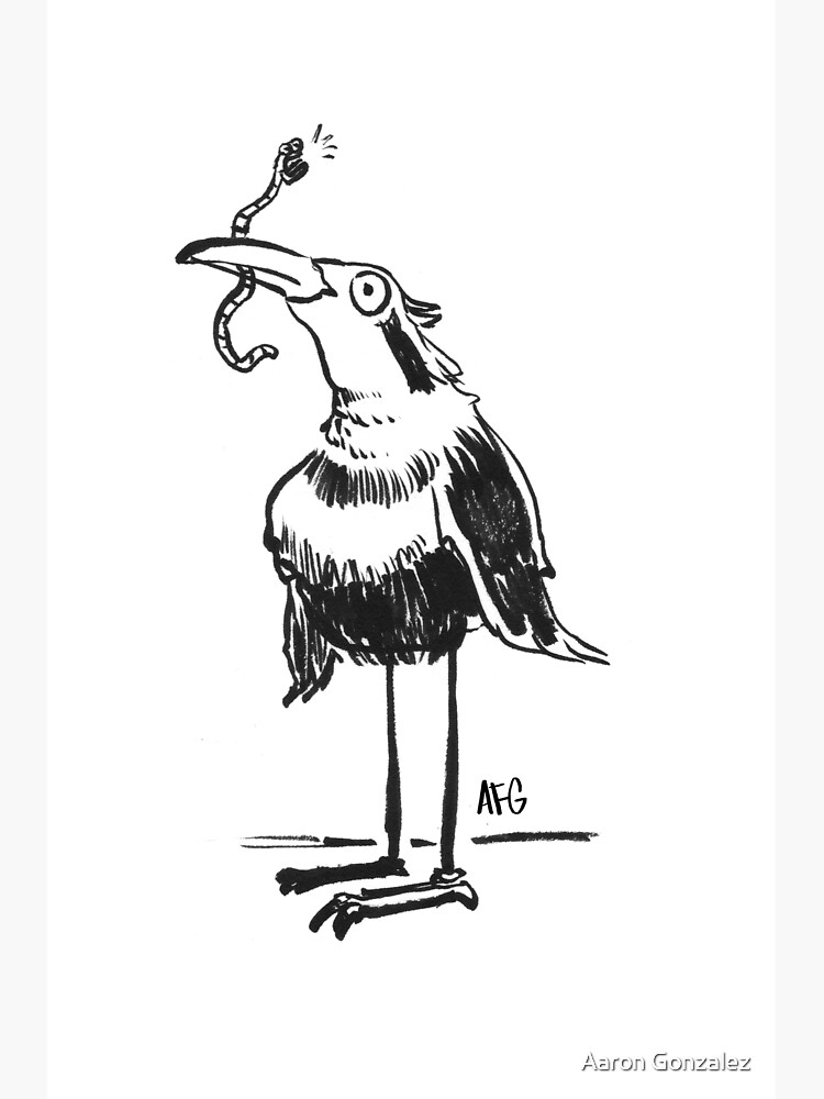 Inktober 2015 Day 20 - Bird and Worm by aaronfg