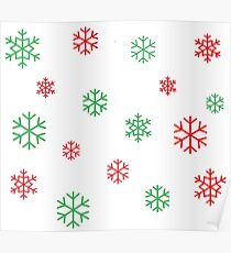 Red/Green Snowflakes Poster