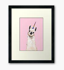 Unicorn Llama Framed Print