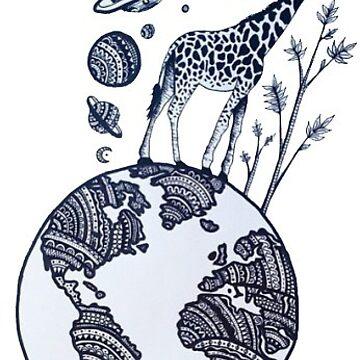 jirafa en el mundo de stickersnstuff