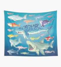 20 Shark Species Size Chart Wall Tapestry
