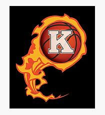 "Alphabet Initials ""K"" On Fire Basketball Monogram Photographic Print"