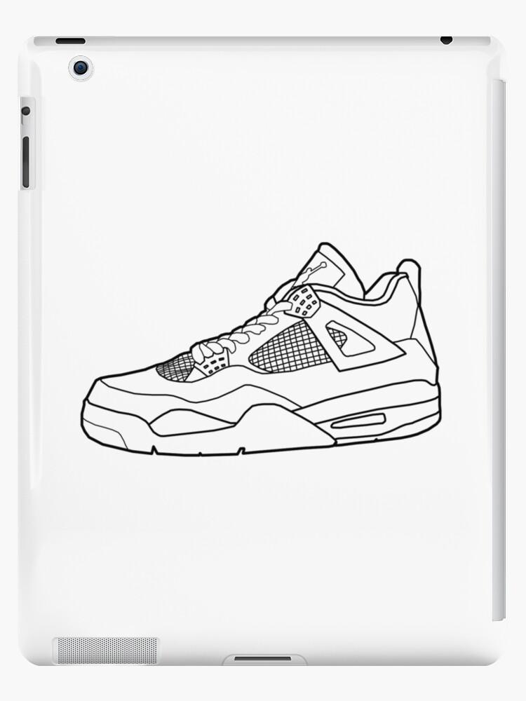 Jordan 4 Sneaker Outline Ipad Cases Skins By Sportify
