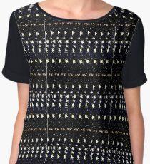 Black Yellow Star Geometric Design Women's Chiffon Top