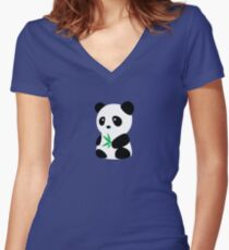 Panda with bamboo Women's Fitted V-Neck T-Shirt