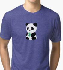Panda with bamboo Tri-blend T-Shirt