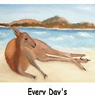 Kanga - In Australia Every Day Is A Beach Day (Black writing) by C J Lewis