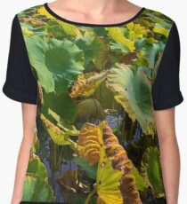 Large Water Lilly Leaves Chiffon Top