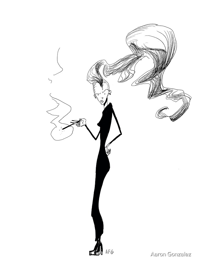 Inktober 2017 Day 18 - Smoking Lady with Shaved Head by Aaron Gonzalez