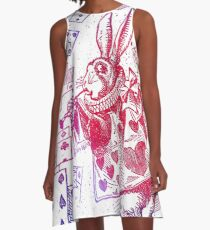 Weiße Kaninchen Alice A-Linien Kleid