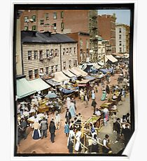 Jewish Market, New York East Side, ca 1890 Poster
