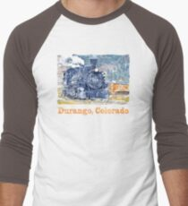 Durango Colorado, Durango Silverton Steam Train Railway Men's Baseball ¾ T-Shirt