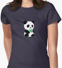 "Panda with ""recreational bamboo"" Women's Fitted T-Shirt"