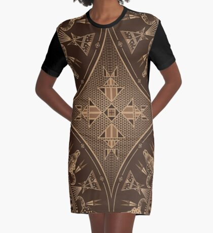 Buffalo Gathering Brown Graphic T-Shirt Dress