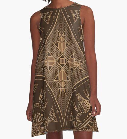 Buffalo Gathering Brown A-Line Dress
